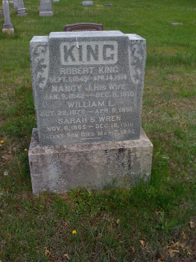 Robert L. King Family Headstone Photo, Bachelor Cemetery, Callaway County genealogy