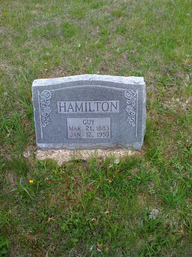 Guy Gather Hamilton Headstone Photo, Bachelor Cemetery, Callaway County genealogy