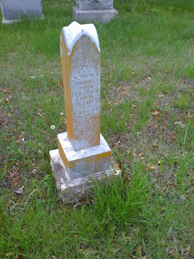 Solomon H. Thomas Headstone Photo, Bachelor Cemetery, Callaway County genealogy