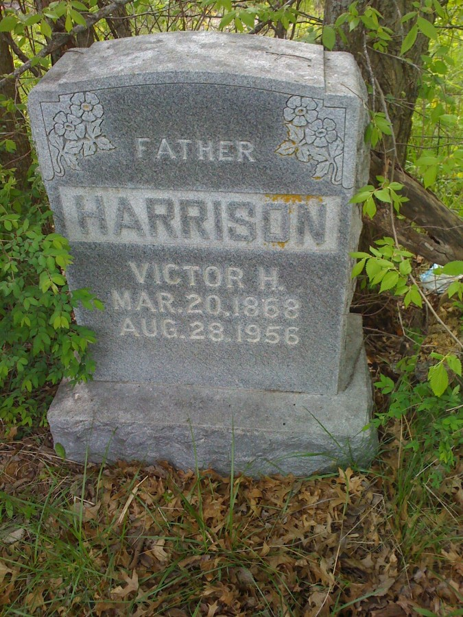 Victor Hugo Harrison Headstone Photo, Bachelor Cemetery, Callaway County genealogy