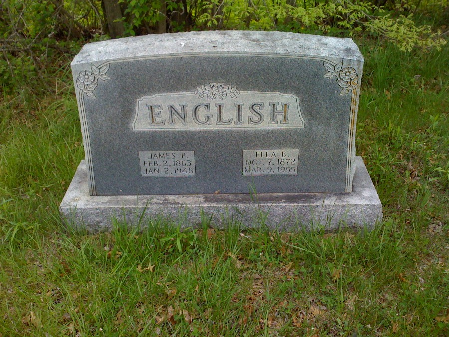 James P. English & Ella B. Love Headstone Photo, Bachelor Cemetery, Callaway County genealogy