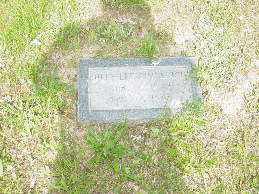 Billy Lee Gingerich Headstone Photo, Central Christian Church Cemetery, Callaway County genealogy