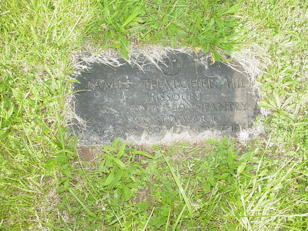 James Thatcher Hill Headstone Photo, Central Christian Church Cemetery, Callaway County genealogy