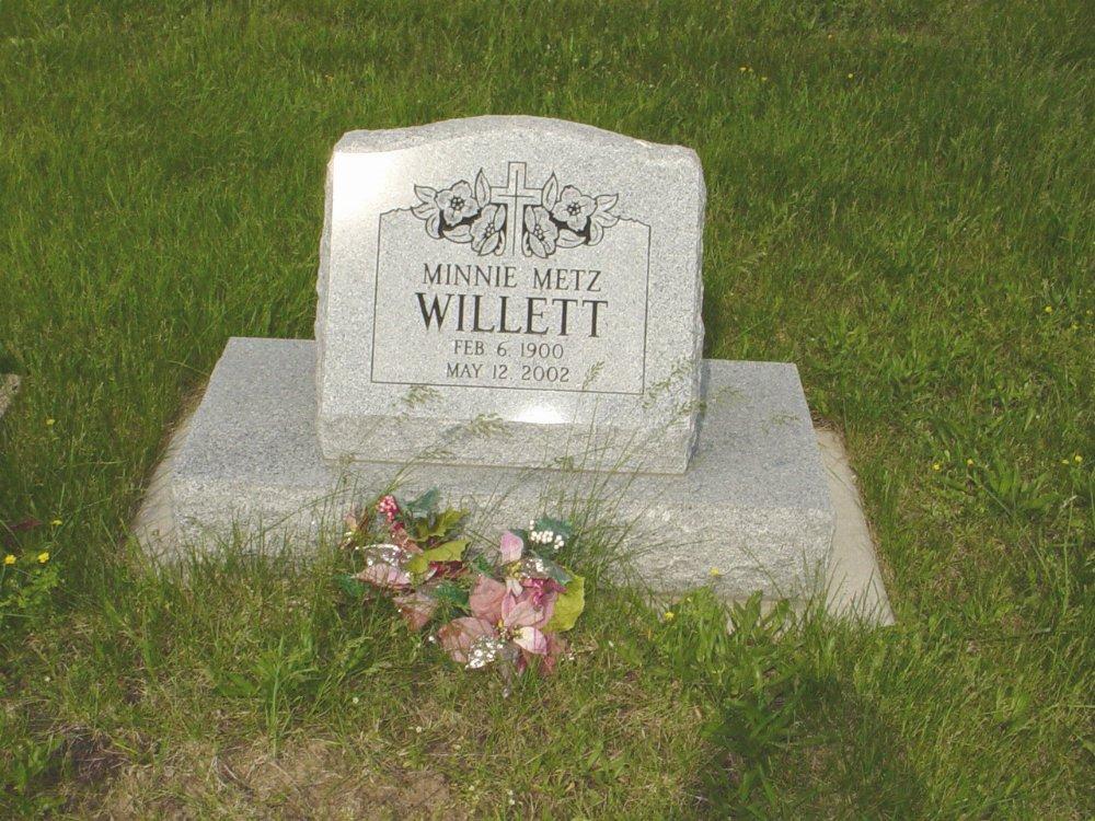Minnie Metz Willett Headstone Photo, Central Christian Church Cemetery, Callaway County genealogy