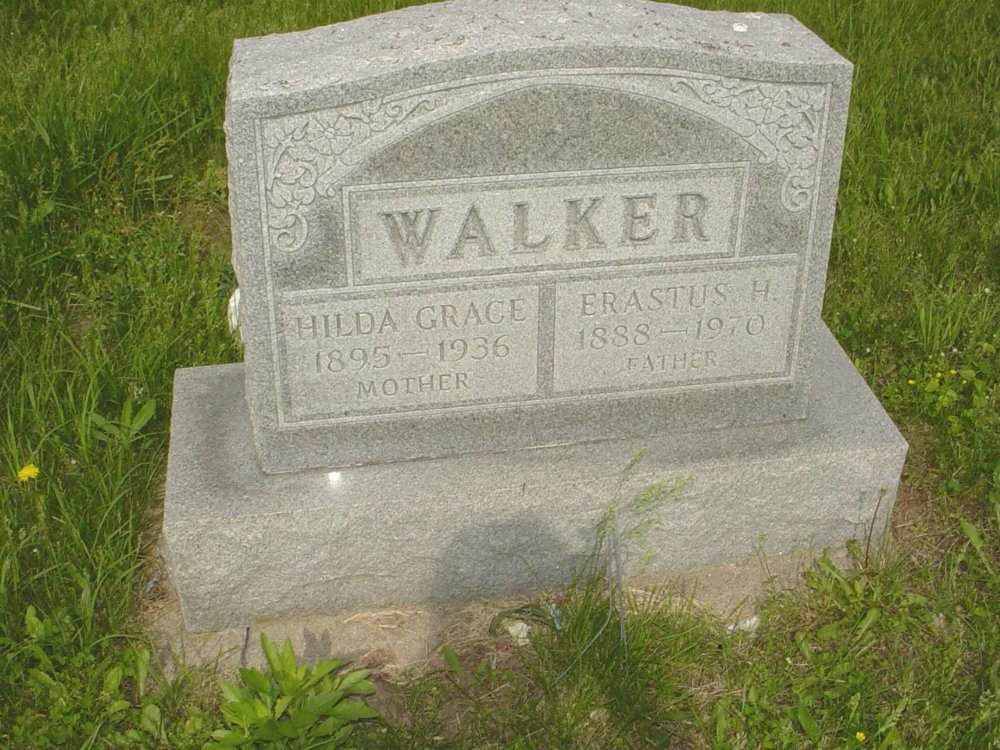 Erastus Walker and Hilda James Headstone Photo, Central Christian Church Cemetery, Callaway County genealogy