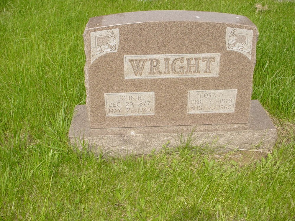 John H. Wright and Cora Divers Headstone Photo, Central Christian Church Cemetery, Callaway County genealogy