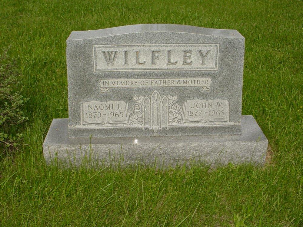John W. Wilfley and Naomi L. Walker Headstone Photo, Central Christian Church Cemetery, Callaway County genealogy