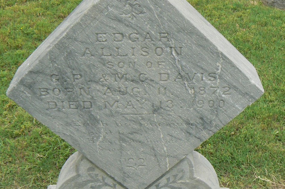 Edgar Allison Davis Headstone Photo, I.O.O.F. cemetery, Callaway County genealogy
