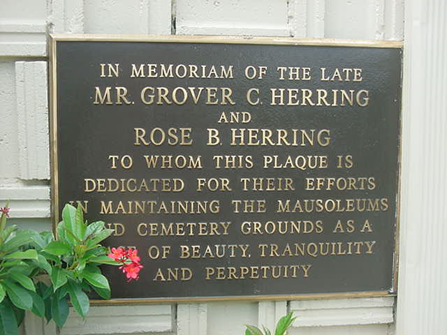 Grover and Rose Herring Headstone Photo, Florida Memorial Gardens, Callaway County genealogy