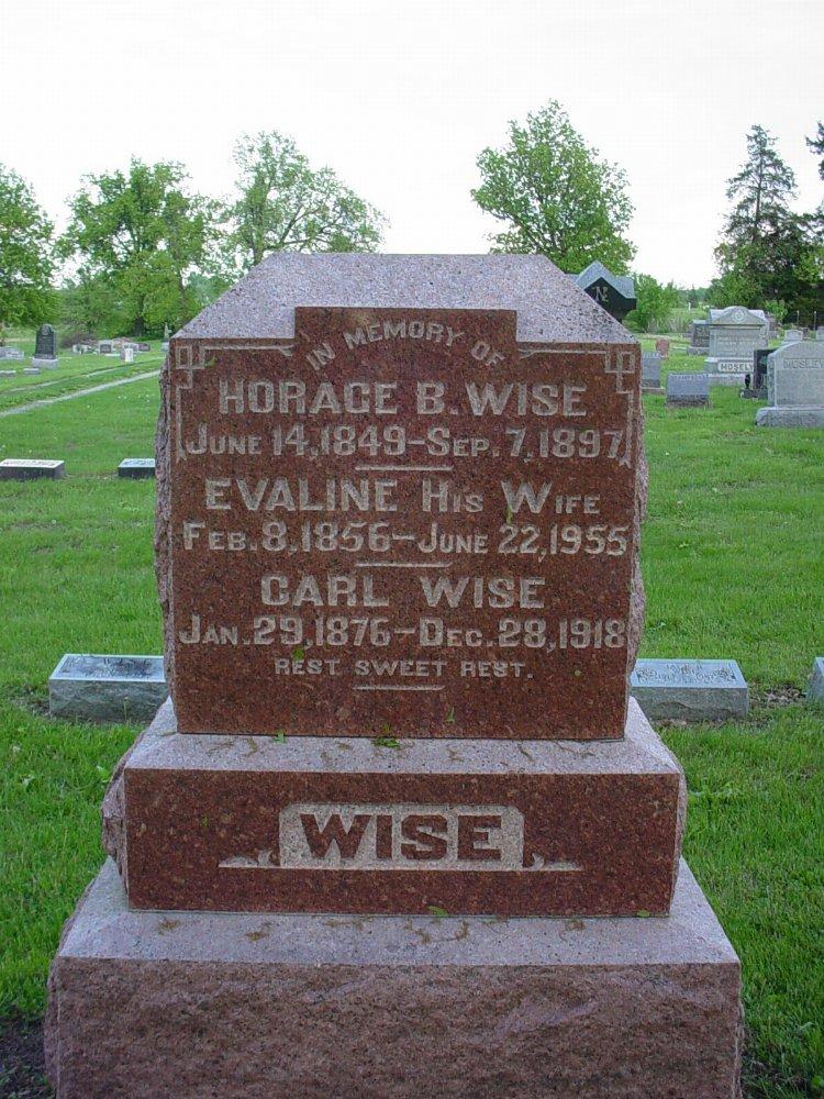 Horace B. Wise, Evaline Nichols & Carl Wise Headstone Photo, Hams Prairie Christian Cemetery, Callaway County genealogy