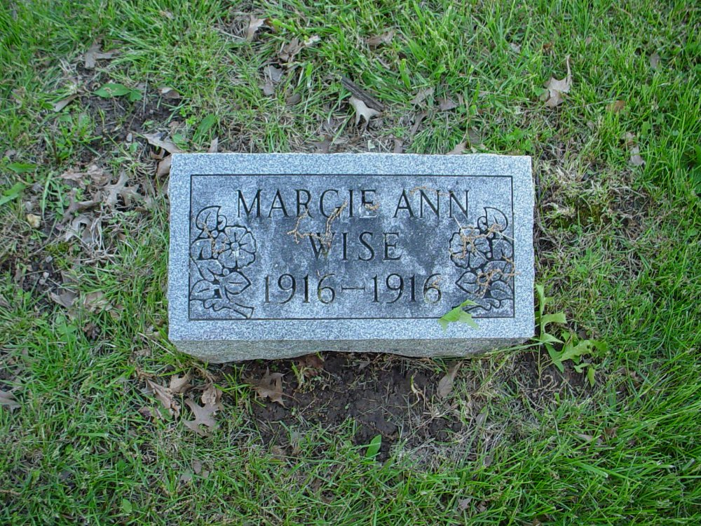Margie Ann Wise Headstone Photo, Hams Prairie Christian Cemetery, Callaway County genealogy