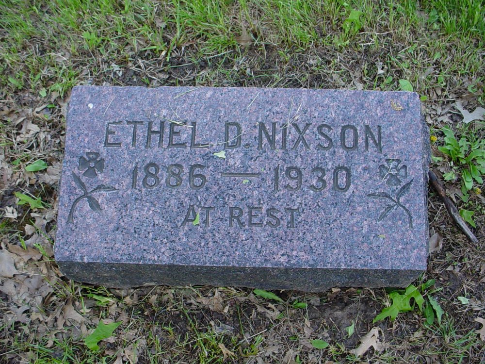 Ethel D. Glover Nixson Headstone Photo, Hams Prairie Christian Cemetery, Callaway County genealogy