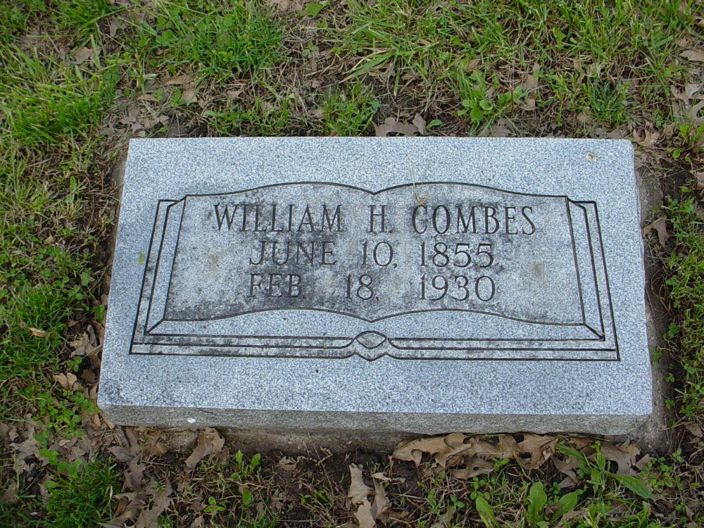 William H. Combes Headstone Photo, Hams Prairie Christian Cemetery, Callaway County genealogy