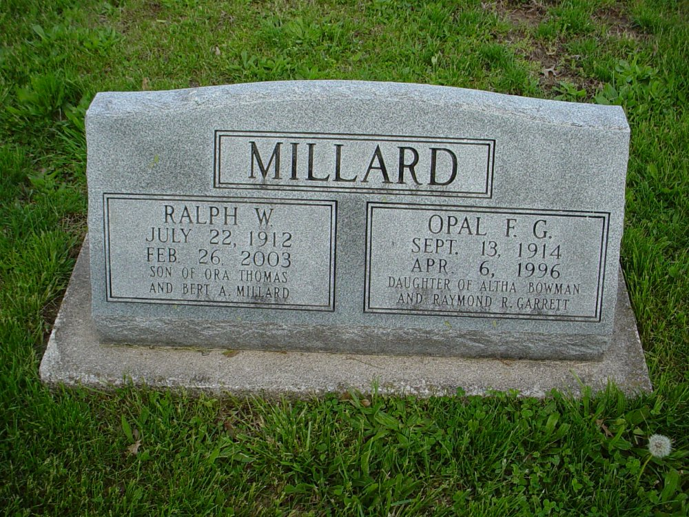 Ralph W. Millard & Opal F. Garrett Headstone Photo, Hams Prairie Christian Cemetery, Callaway County genealogy