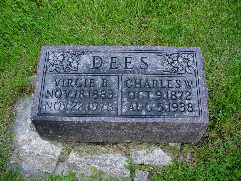 Charles W. & Virgie B. Dees Headstone Photo, Hams Prairie Christian Cemetery, Callaway County genealogy