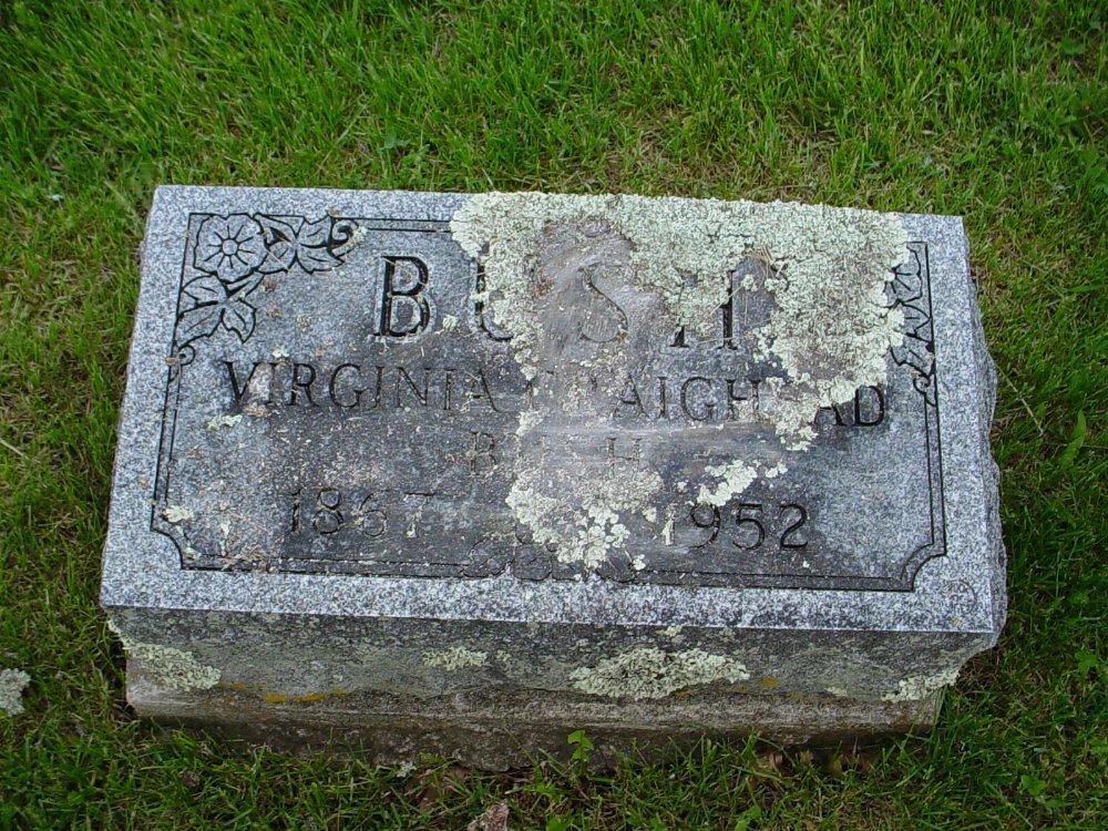 Virginia Craighead Bush Headstone Photo, Hams Prairie Christian Cemetery, Callaway County genealogy