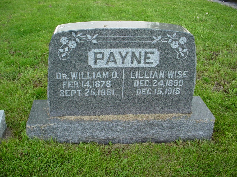William O. Payne & Lillian B. Wise Headstone Photo, Hams Prairie Christian Cemetery, Callaway County genealogy