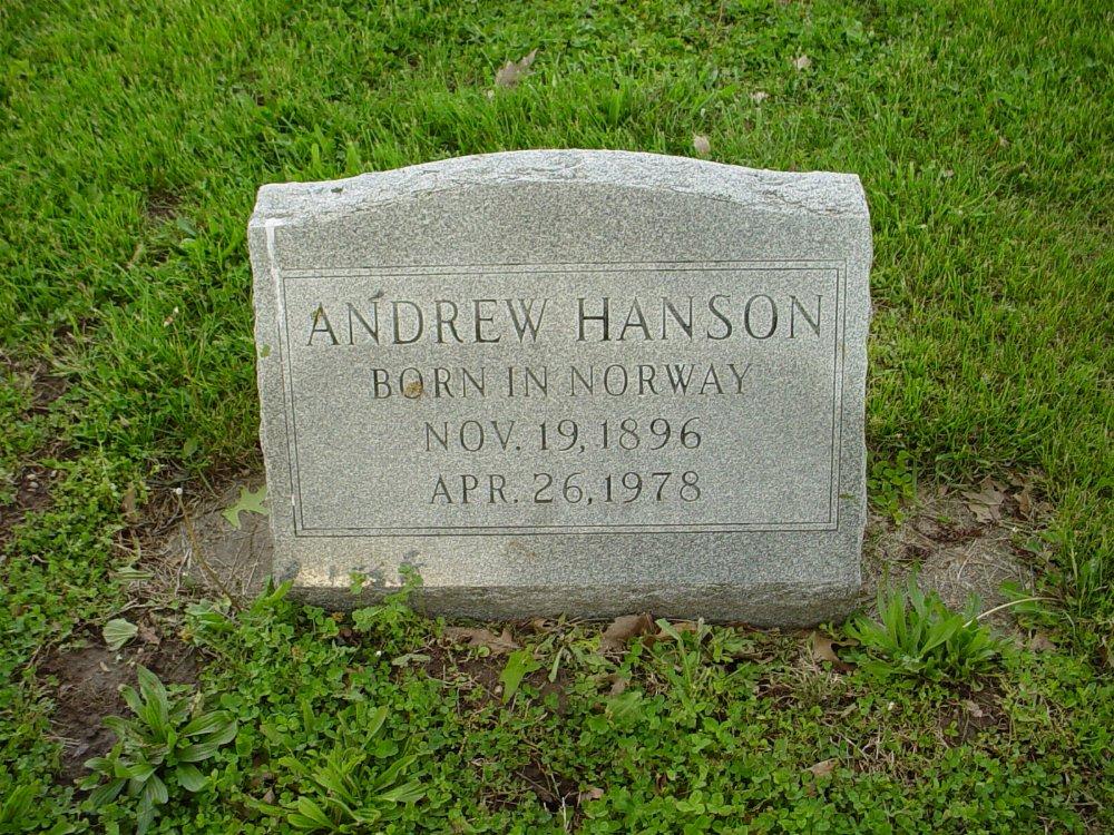 Andrew Hanson Headstone Photo, Hams Prairie Christian Cemetery, Callaway County genealogy