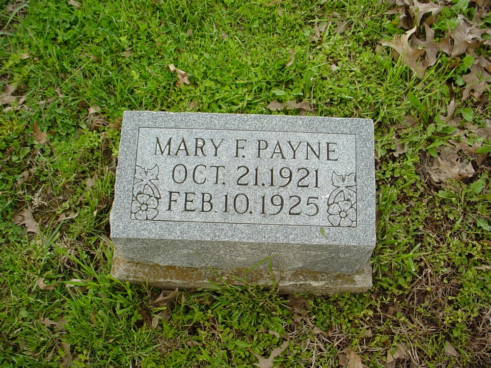 Mary Frances Payne Headstone Photo, Hams Prairie Christian Cemetery, Callaway County genealogy