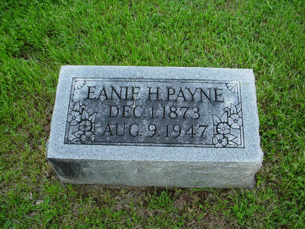 Eanie H. Payne Headstone Photo, Hams Prairie Christian Cemetery, Callaway County genealogy