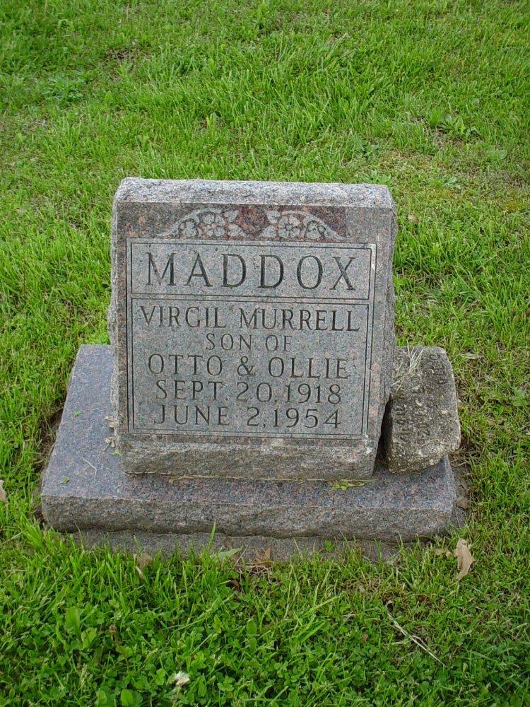 Virgil M. Maddox Headstone Photo, Hams Prairie Christian Cemetery, Callaway County genealogy