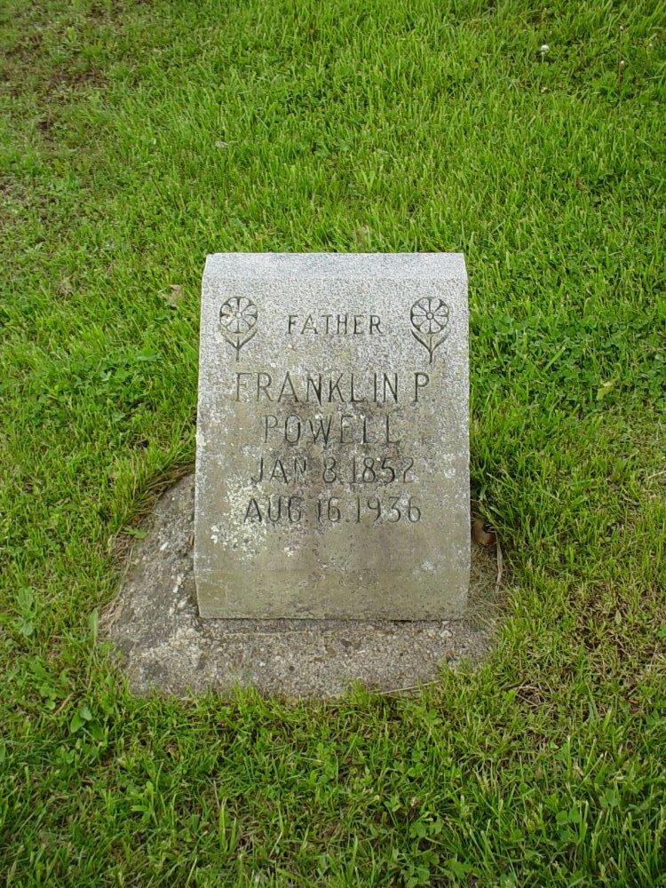 Franklin Powell Headstone Photo, Hams Prairie Christian Cemetery, Callaway County genealogy