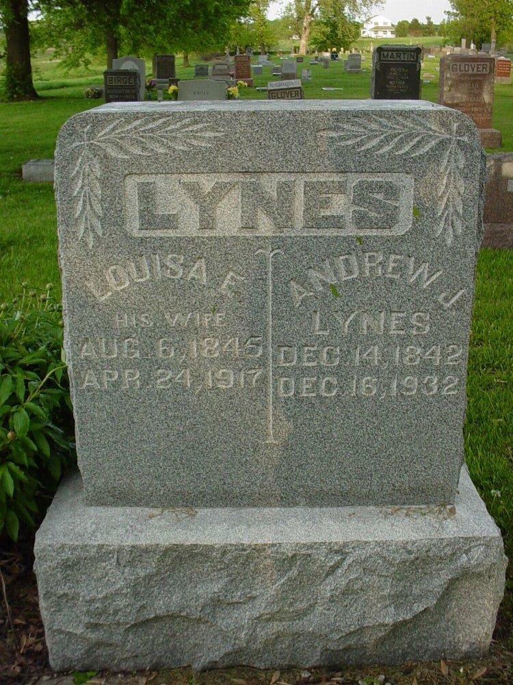 Andrew J. Lynes & Louise E. Whyte Headstone Photo, Hams Prairie Christian Cemetery, Callaway County genealogy
