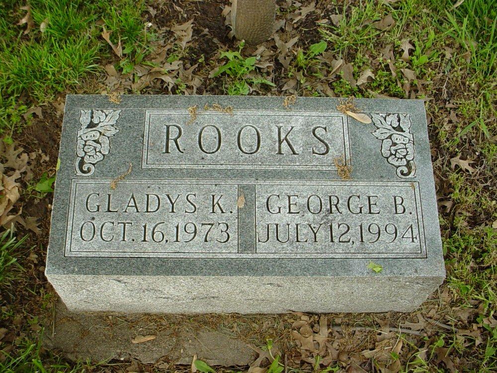 George B. & Gladys K. Rooks Headstone Photo, Hams Prairie Christian Cemetery, Callaway County genealogy