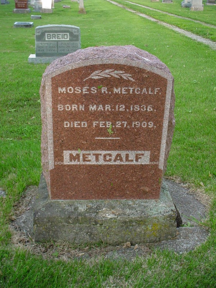 Moses R. Metcalf Headstone Photo, Hams Prairie Christian Cemetery, Callaway County genealogy