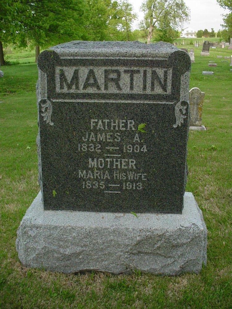 James A. Martin & Maria Muir Headstone Photo, Hams Prairie Christian Cemetery, Callaway County genealogy