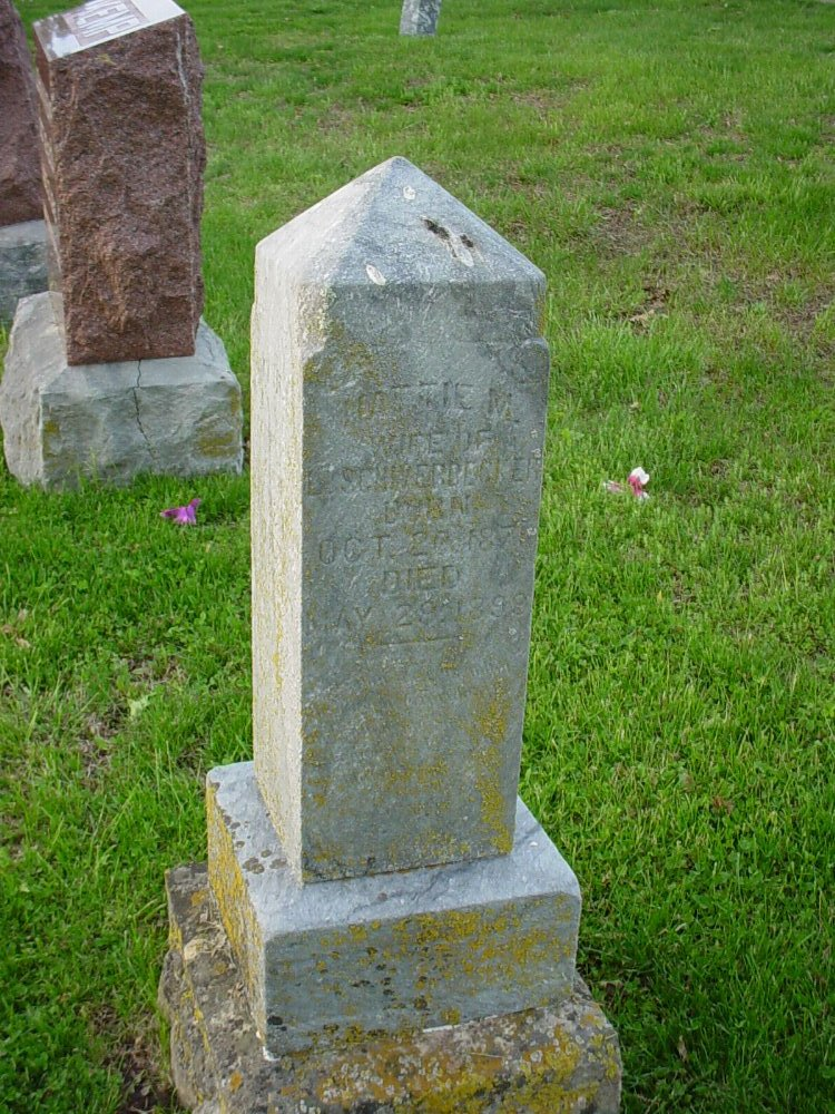 Hattie Kemp Shiverdecker Headstone Photo, Hams Prairie Christian Cemetery, Callaway County genealogy