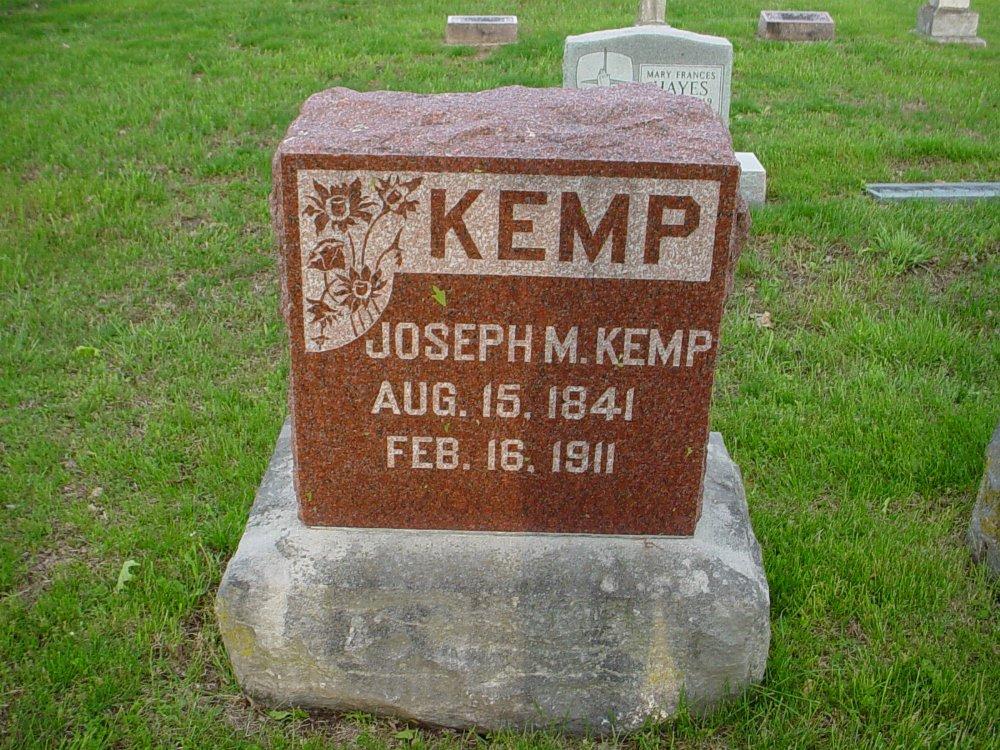 Joseph M. Kemp Headstone Photo, Hams Prairie Christian Cemetery, Callaway County genealogy