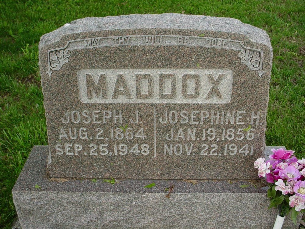 Joseph J. Maddox & Josephine Frey Headstone Photo, Hams Prairie Christian Cemetery, Callaway County genealogy