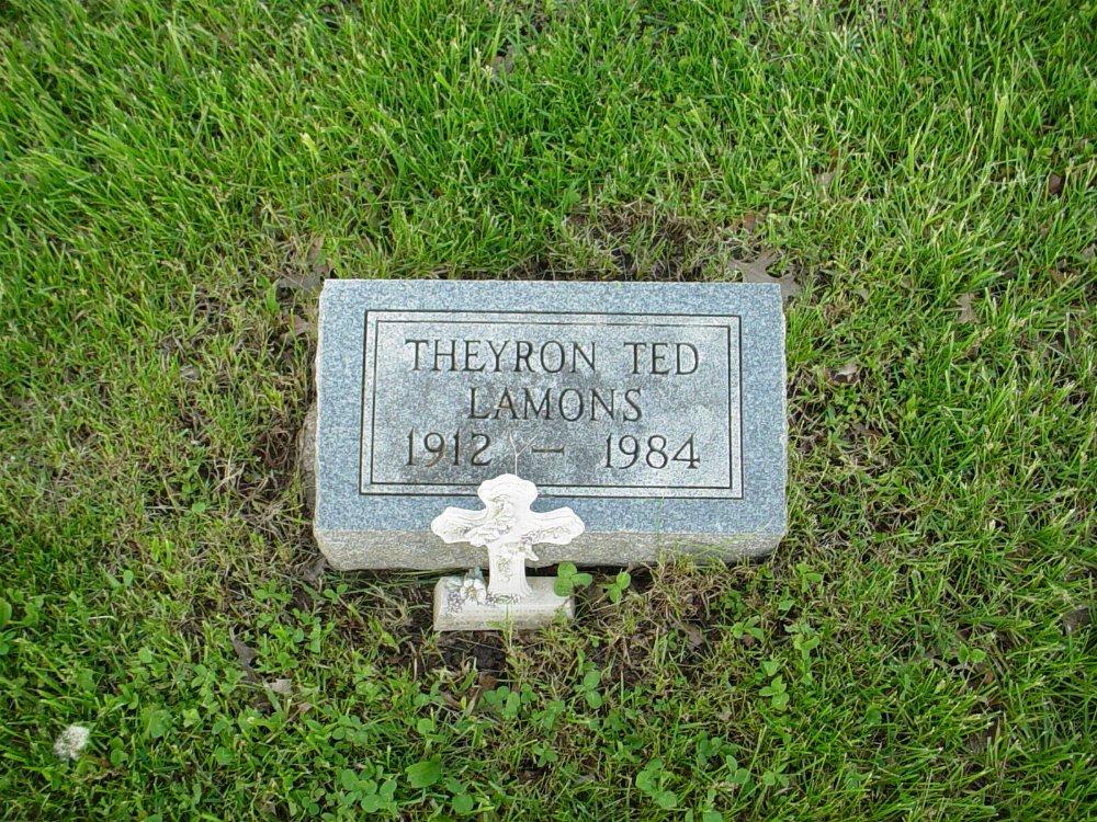 Theyron Ted Lamons Headstone Photo, Hams Prairie Christian Cemetery, Callaway County genealogy