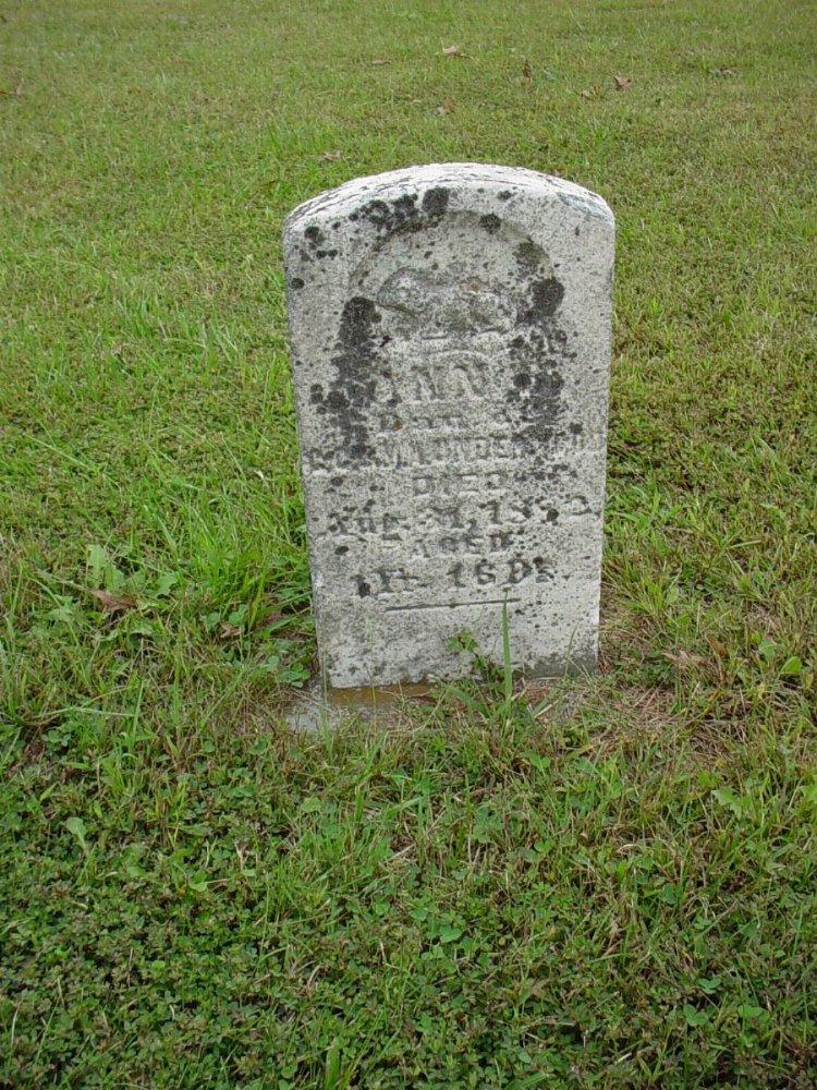 Ann Underwood Headstone Photo, Harmony Baptist Cemetery, Callaway County genealogy