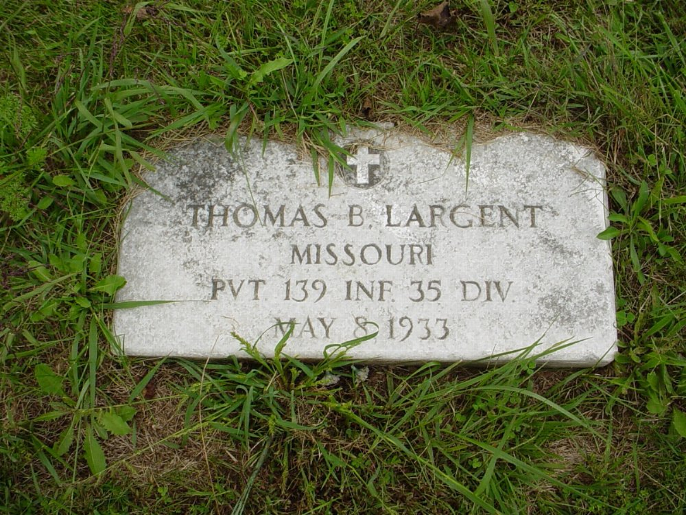 Thomas Largent Headstone Photo, Harmony Baptist Cemetery, Callaway County genealogy
