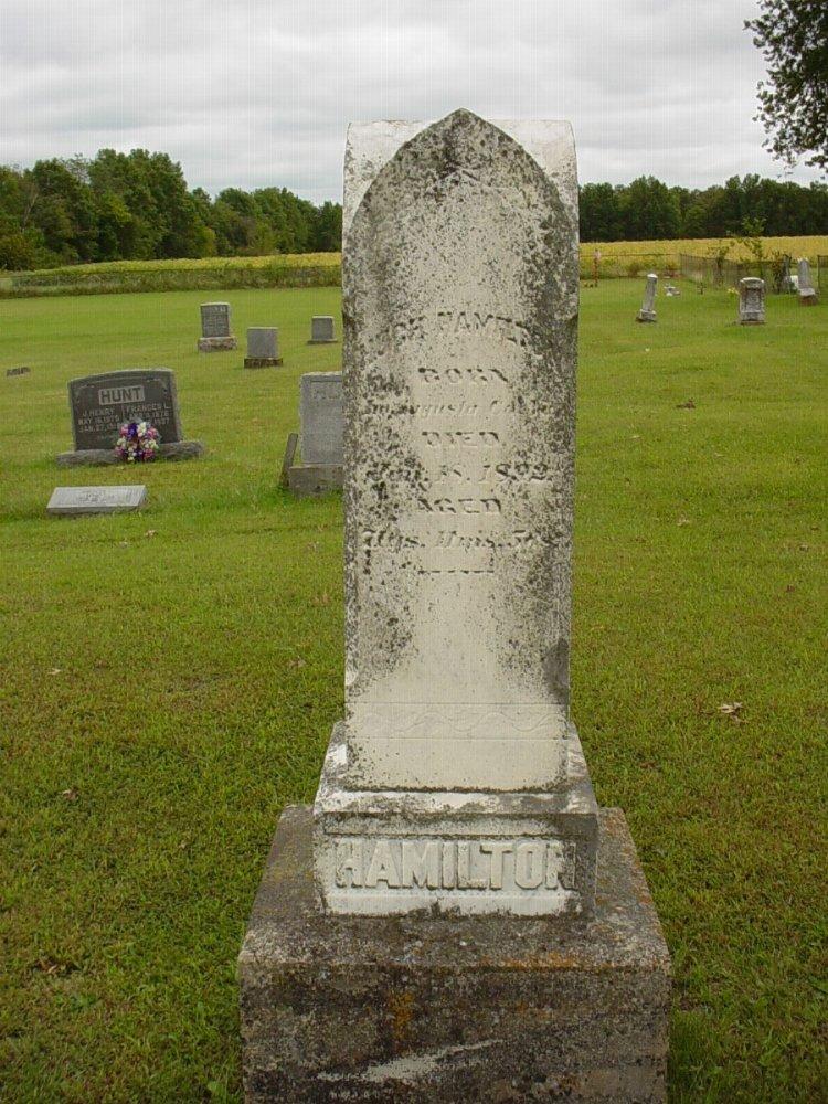 Hugh Hamilton Headstone Photo, Harmony Baptist Cemetery, Callaway County genealogy