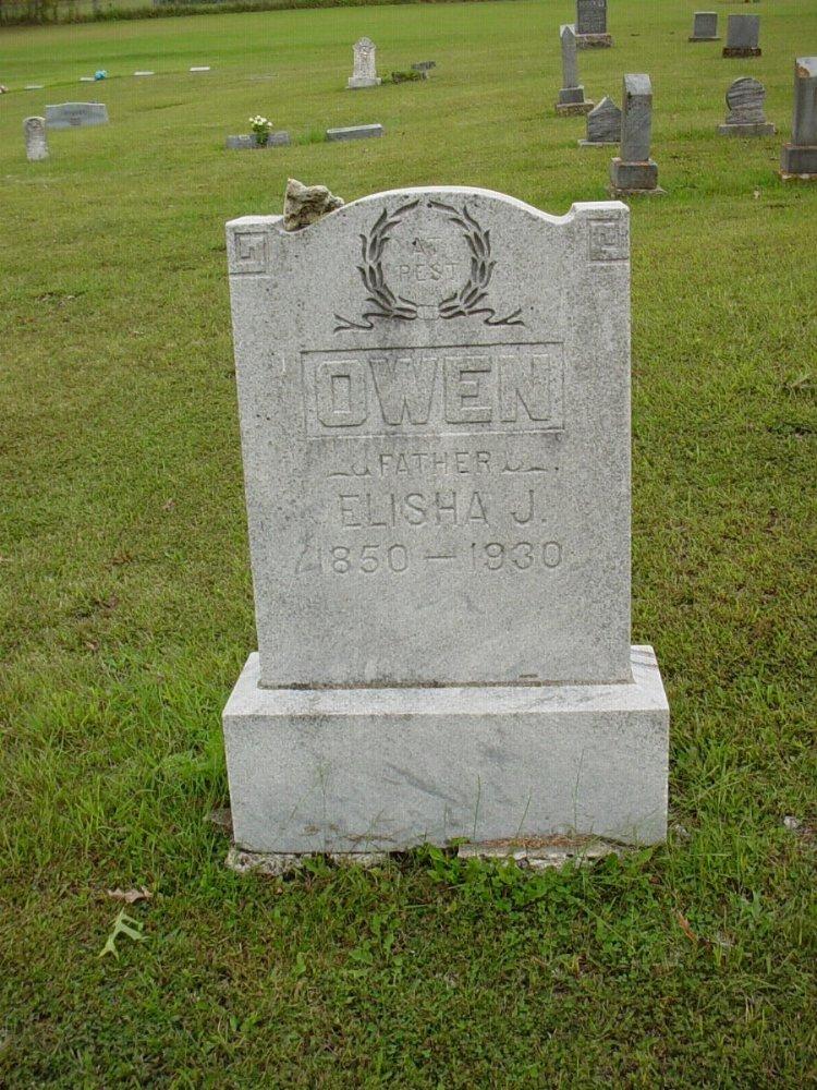 Elisha J. Owen Headstone Photo, Harmony Baptist Cemetery, Callaway County genealogy