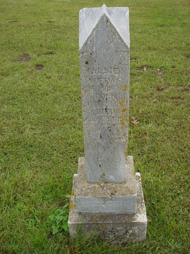 Alice Owen Munford Headstone Photo, Harmony Baptist Cemetery, Callaway County genealogy
