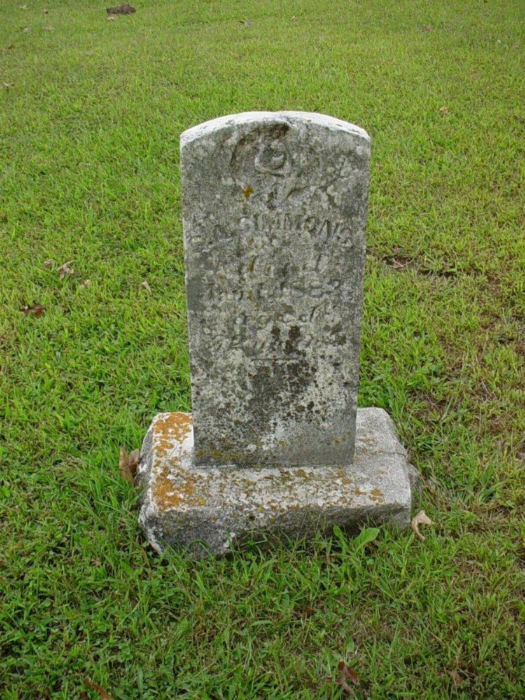 S.A. Simmons Headstone Photo, Harmony Baptist Cemetery, Callaway County genealogy