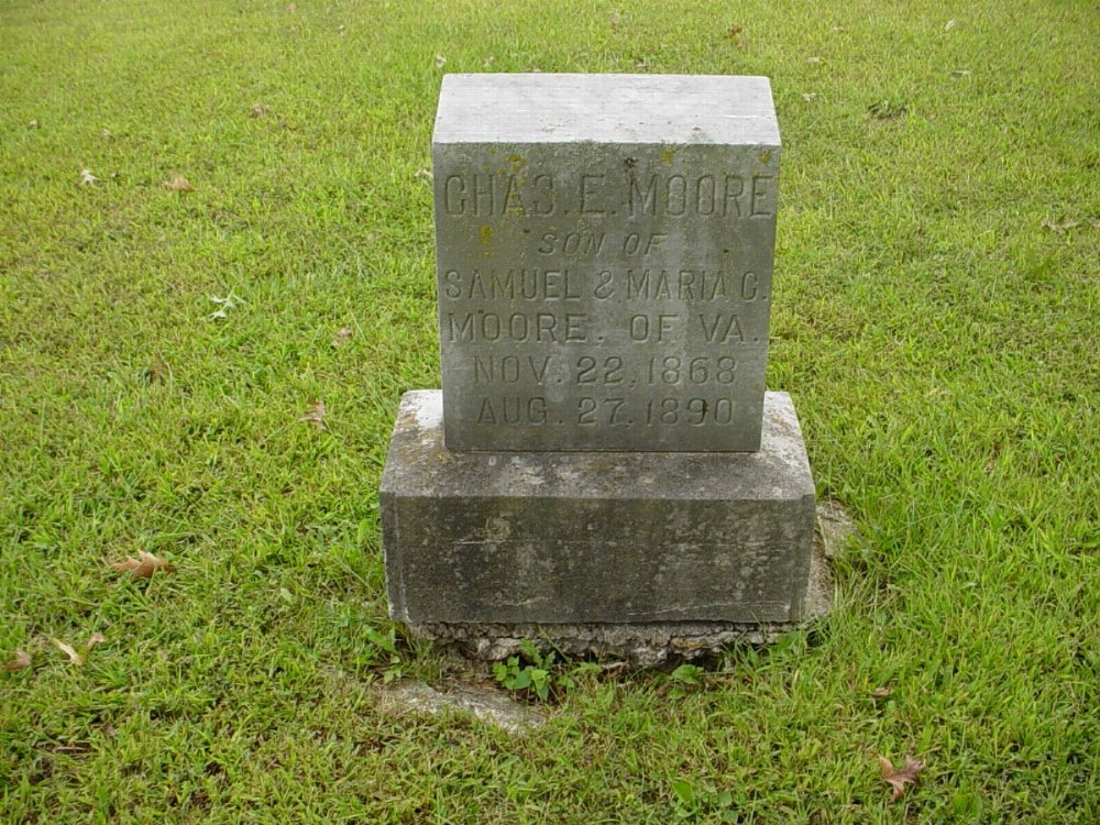 Charles E. Moore Headstone Photo, Harmony Baptist Cemetery, Callaway County genealogy