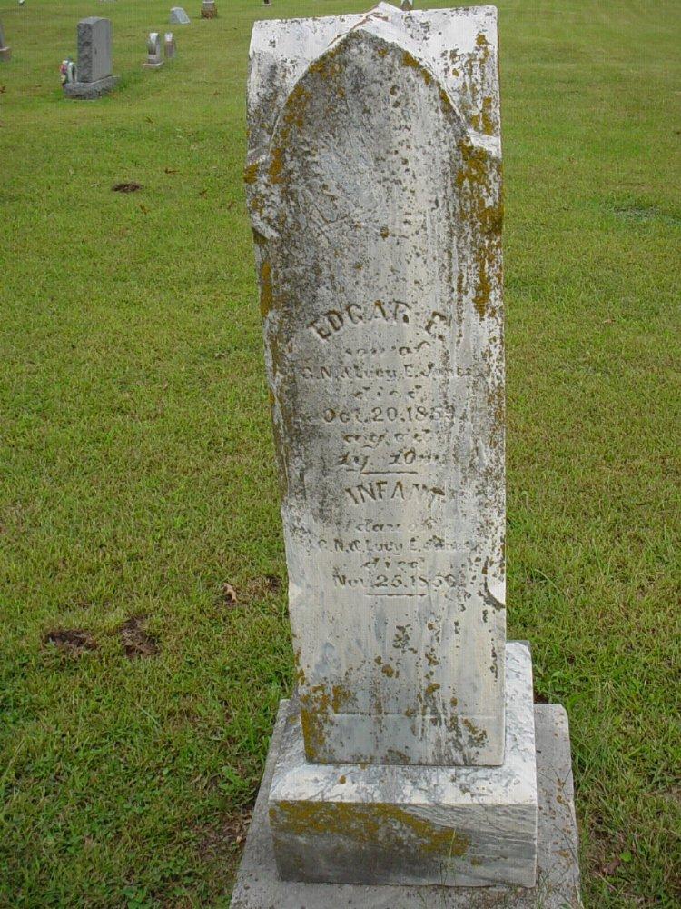 Edgar Jones & infant Headstone Photo, Harmony Baptist Cemetery, Callaway County genealogy
