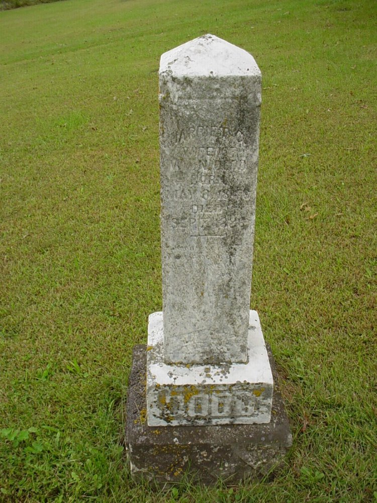 Harriet C. Dodd Headstone Photo, Harmony Baptist Cemetery, Callaway County genealogy