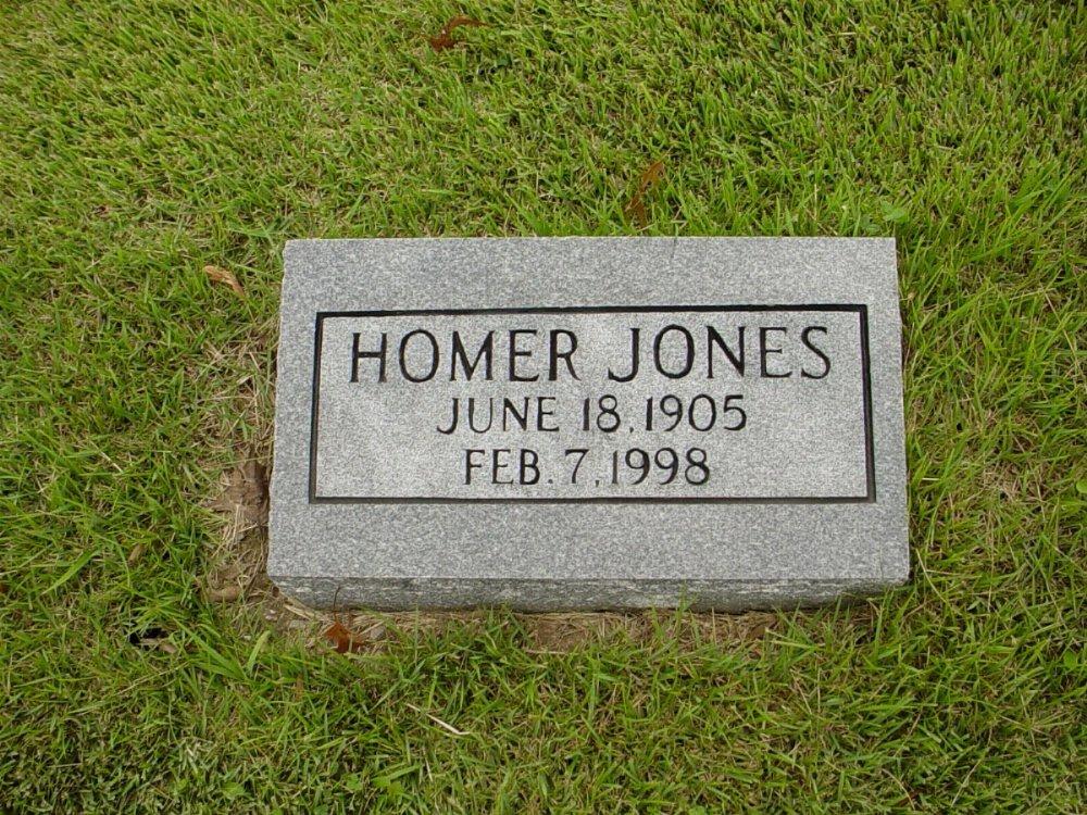 Homer Jones Headstone Photo, Harmony Baptist Cemetery, Callaway County genealogy