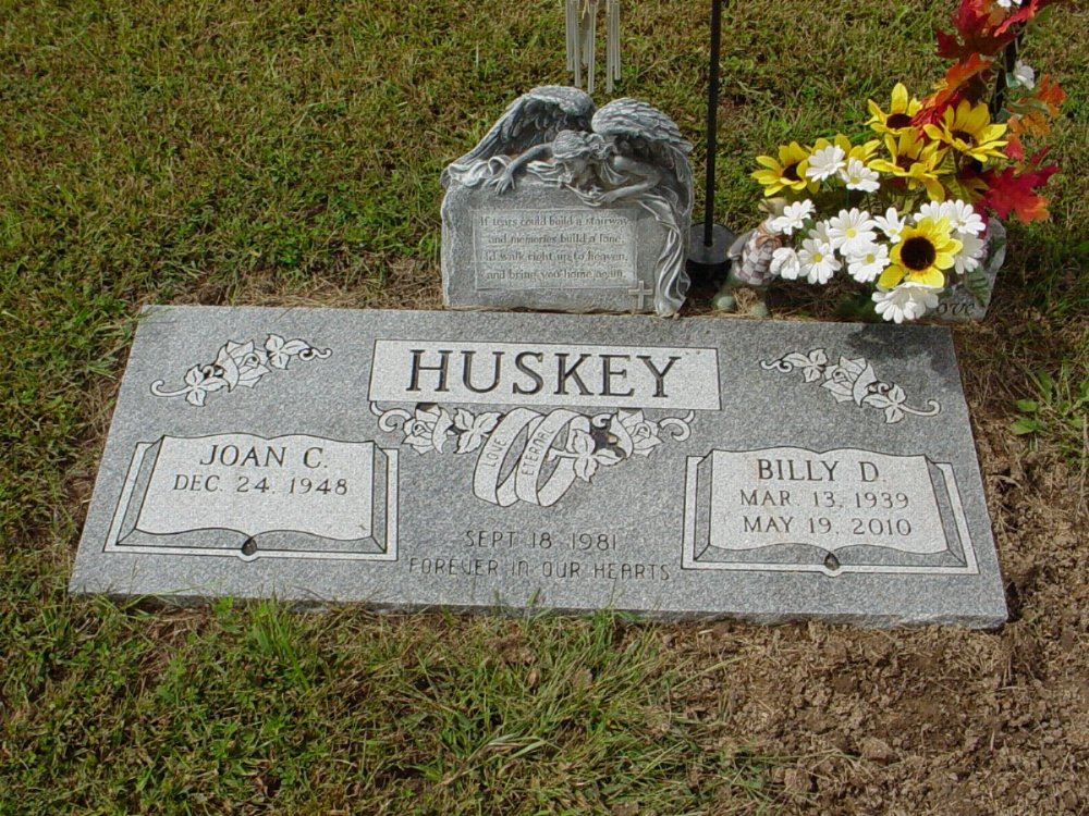 Billy D. Huskey Headstone Photo, Harmony Baptist Cemetery, Callaway County genealogy