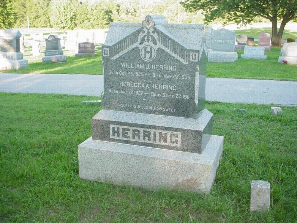 William J. Herring and Rebecca A. Knight Headstone Photo, Hillcrest Cemetery, Callaway County genealogy