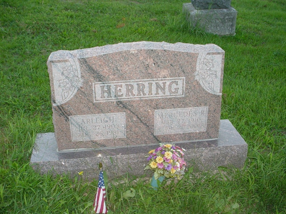 Arleigh Herring and Mercedes Rowe Headstone Photo, Hillcrest Cemetery, Callaway County genealogy