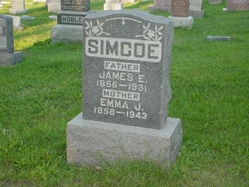 James E. Simco and Emma J. Herring Headstone Photo, Hillcrest Cemetery, Callaway County genealogy