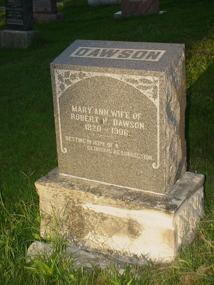 Mary Ann Herring Dawson Headstone Photo, Hillcrest Cemetery, Callaway County genealogy