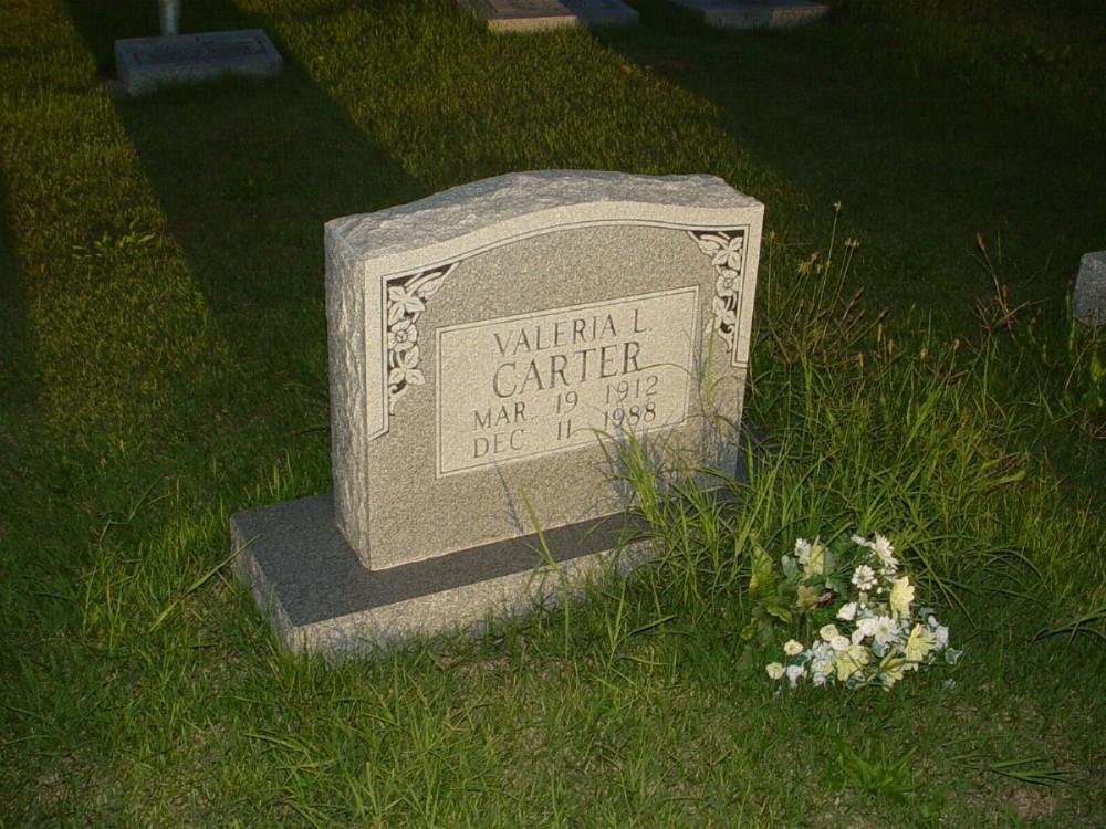 Valeria L. Carter Headstone Photo, Hillcrest Cemetery, Callaway County genealogy